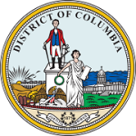 Great Seal of the District of Columbia (DC) depicting a man and a woman standing in front of the U.S. Capitol.